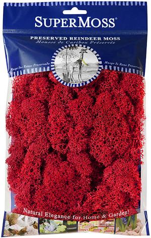 Supermoss Reindeer Moss Preserved Moss Red 10ea/4 oz