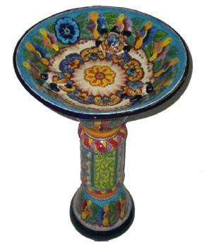 Talavera Deluxe Bird Bath Espcial Multi-Color 1ea/18Inx28 in