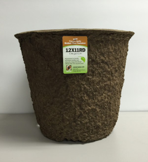 Western Pulp Molded Fiber Round Nursery Container Green 18ea/12Inx11In 3.4 gal
