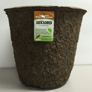 Western Pulp Molded Fiber Round Nursery Container Green 24ea/10Inx10In 2.55 gal