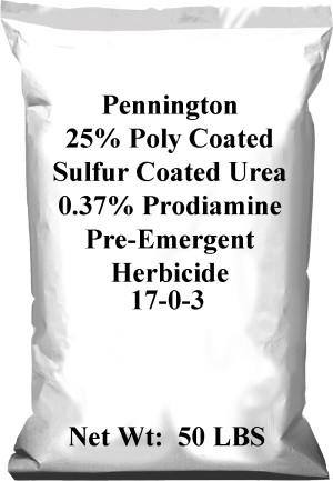 Pennington 25% Poly Coated Sulfur Coated Urea 0.37% Prodiamine 17-0-3 40ea/50 lb