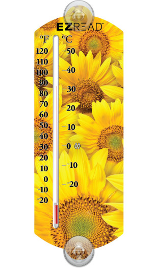 E-Z Read Thermometer Sunflowers Yellow 10ea/10 in