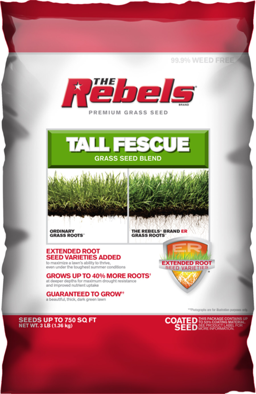 The Rebels Tall Fescue Grass Seed Blend Powder Coated 8ea/3 lb