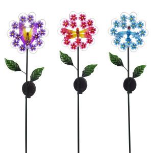 Alpine Solar Metallic Blossom Flower Garden Stake Display 9ea