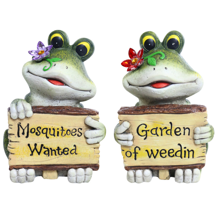 Alpine Frogs with Flowers Holding Signs Assorted 4ea
