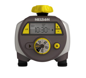 Nelson Dual Outlet Electronic Water Timer Grey 3ea