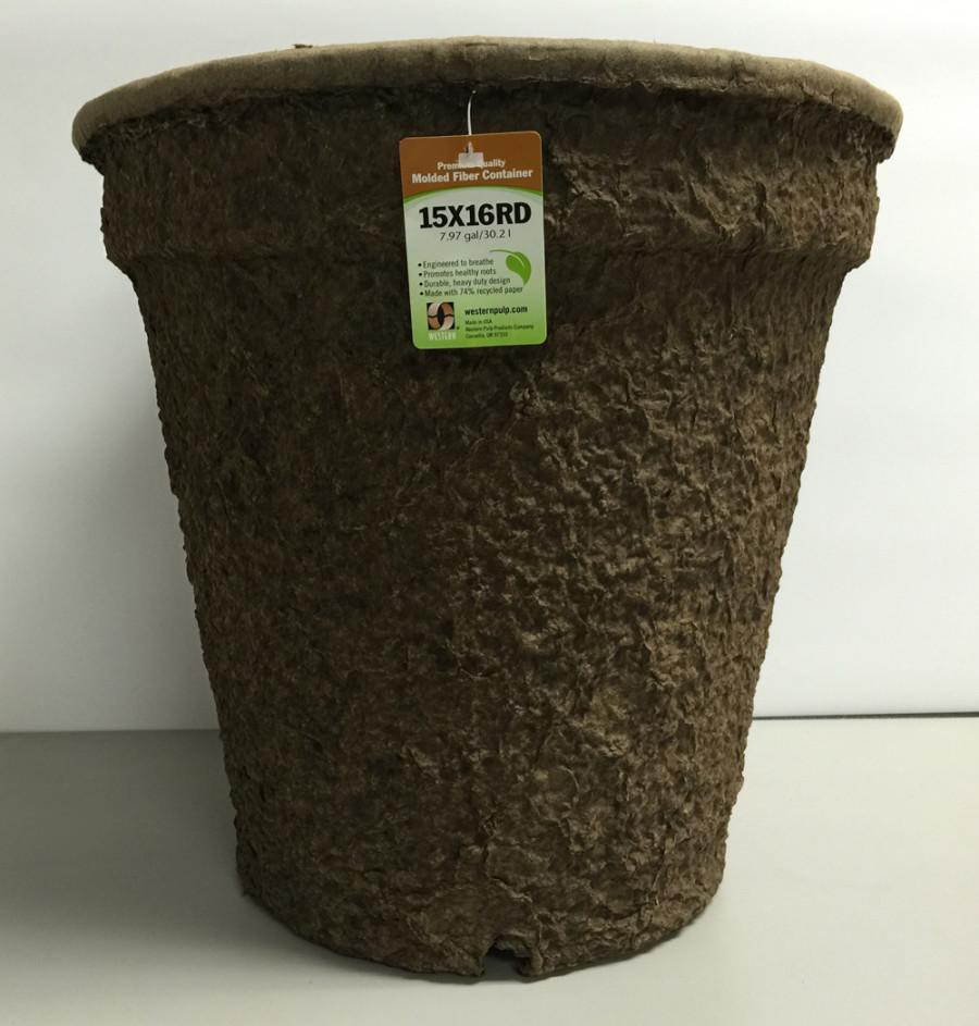 Western Pulp Molded Fiber Round Nursery Container Green 12ea/15Inx16In 7.97 gal