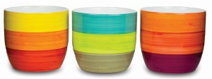 New England Pottery Cup Pot Bright Stripes Assorted 6ea/5.5 in