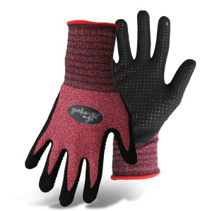 Boss Guardian Angel® Dotted Nitrile Palm Knit Wrist Glove Purple, Red 12ea/X-Small