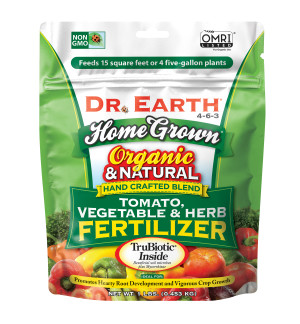 Dr. Earth Home Grown Premium Tomato, Vegetable & Herb Fertilizer 4-6-3 Green Poly Bag 12ea/1 lb