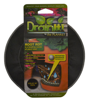 DrainIt! Plant Container Disc Fits 12in - 15in Pots Clip Strip Black 24ea/16In - 19In 11.75 in