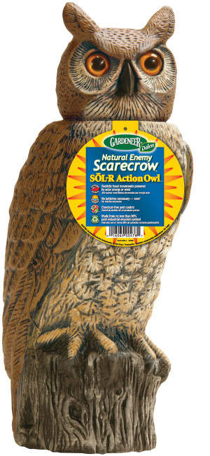 Dalen Gardeneer Natural Enemy Scarecrow Owl Solar Action Owl Brown 4ea/18 in