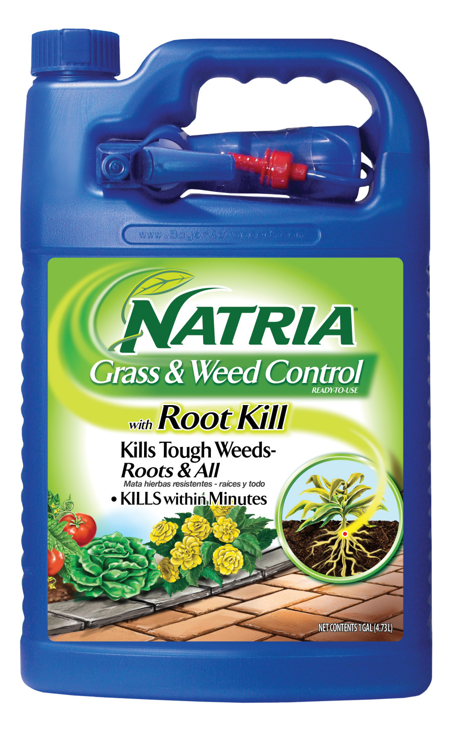 BioAdvanced Natria Grass & Weed Control w/Root Kill Ready to Use Nested Sprayer Blue Bottle 4ea/1 gal