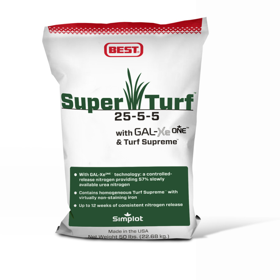 Best Super Turf Fertilizer 25-5-5 with GAL-XeONE and Turf Supreme 1ea/50 lb