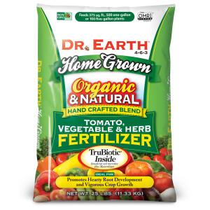 Dr. Earth Home Grown Premium Tomato, Vegetable & Herb Fertilizer 4-6-3 Green Bag 1ea/25 lb