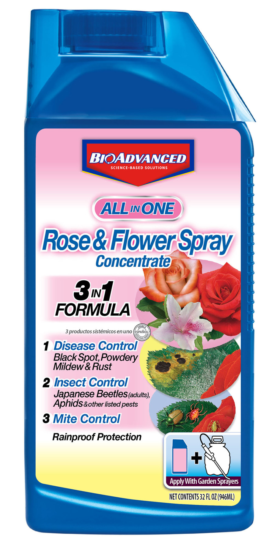 BioAdvanced All-In-One Rose & Flower Care Spray Concentrate 4ea/32 fl oz