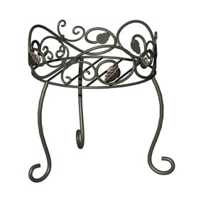 Panacea Plant Stand Scroll & Ivy Black 6ea/11.5 in