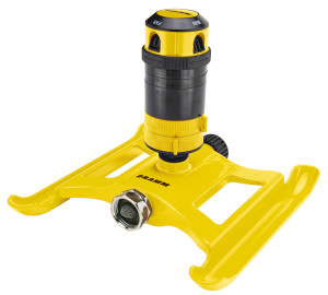 Dramm 4-Pattern Gear Sprinkler On Sled Base Yellow 1ea