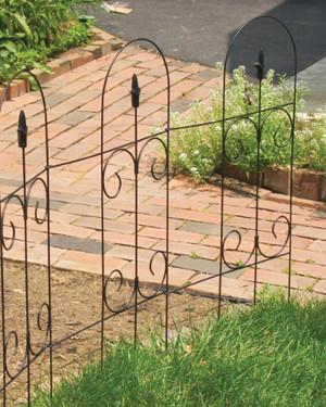 Panacea Folding Fence With Finial Black 10ea/32Inx8 ft