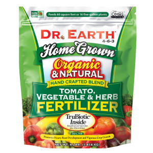 Dr. Earth Home Grown Premium Tomato, Vegetable & Herb Fertilizer 4-6-3 Green Poly Bag 12ea/4 lb