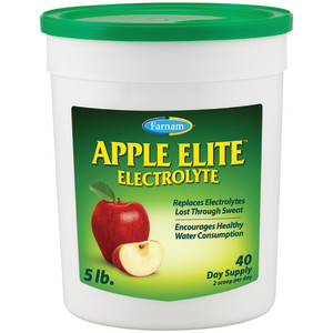 Farnam Apple Elite Electrolyte Supplement for Horses, Replaces minerals lost during exercise, extreme weather and stressful conditions, 4ea/5 lb