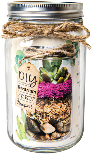 Supermoss Terrarium Kit DIY Mason Jar Newport Clear 12ea/32 oz
