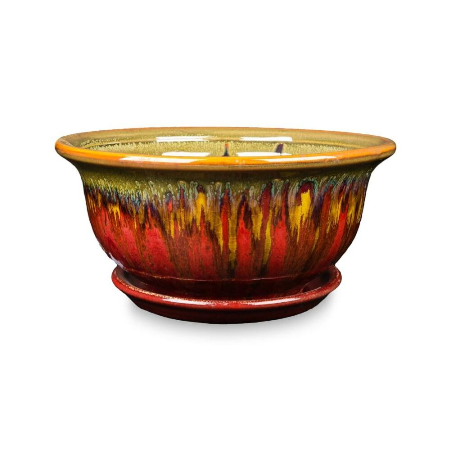 New England Pottery Aurora Low Bowl Lava Flow Multi-Color 1ea/10 in