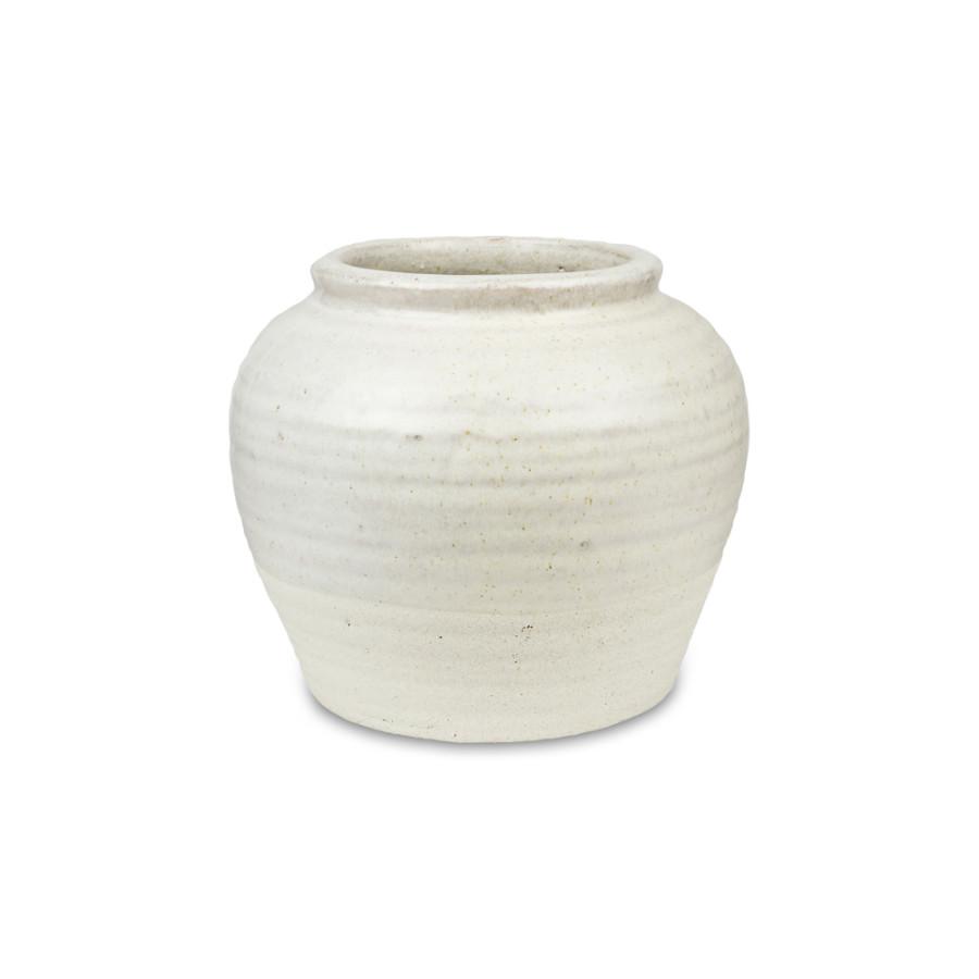 Pennington Half-Glazed Vase Bone White 2ea/7.75 in