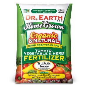 Dr. Earth Home Grown Premium Tomato, Vegetable & Herb Fertilizer 4-6-3 Green Bag 5ea/12 lb