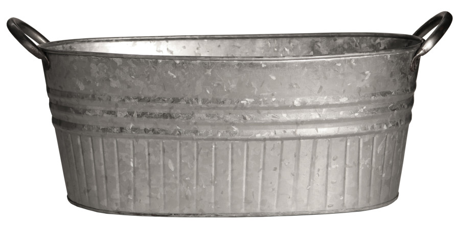 Robert Allen Oval Tub Tapered with Handles Galvanized