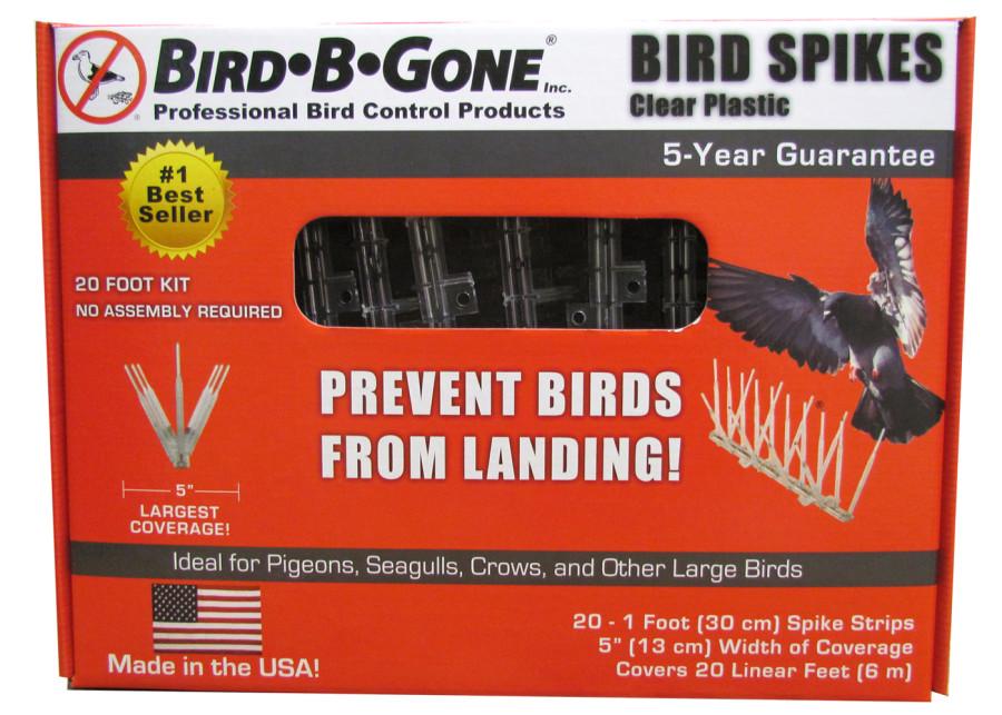 Bird-B-Gone Plastic Bird Spikes Clear 4ea/20 ft