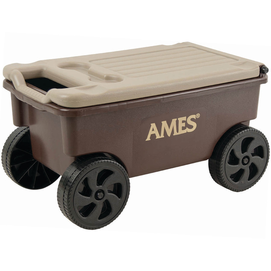 Ames Lawn Buddy Planters Cart w/ Poly Seat Storage Brown 1ea/26-1/2 in