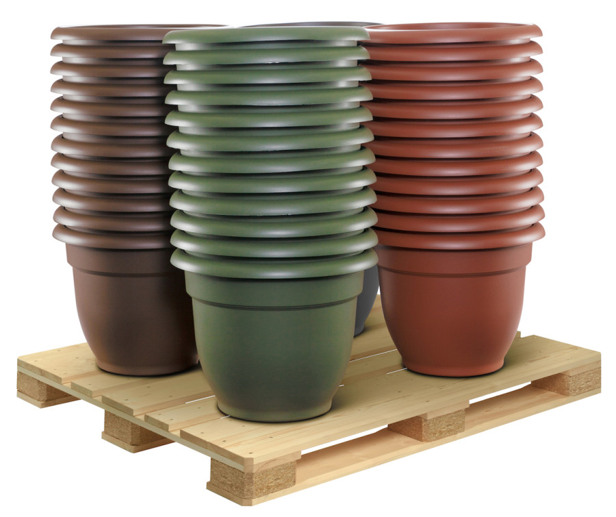 Bloem Ariana Planter with Grid 16in Core Pallet Charcoal, Chocolate, Terra Cotta, Living Green 1ea/48Pc