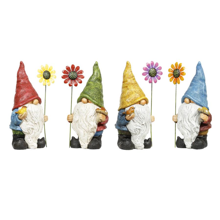 Alpine Gnome With Flower Statue Multi 4ea/One Size