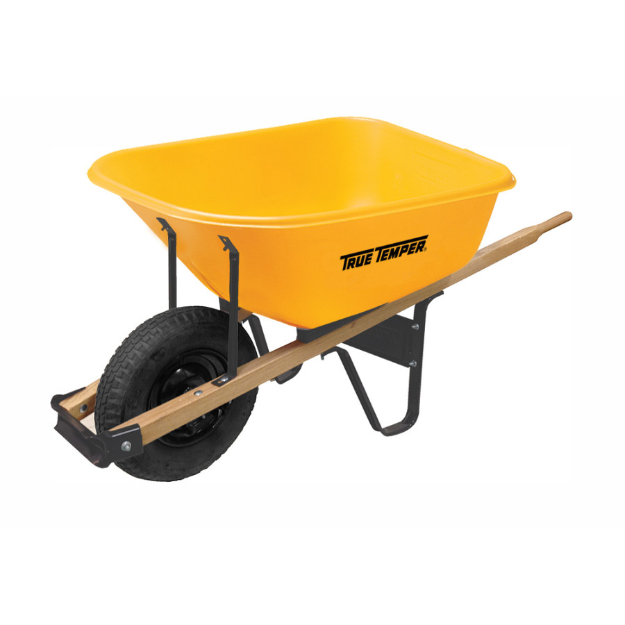 Ames True Temper Poly Tray Wheelbarrow Yellow 1ea/6Cuft