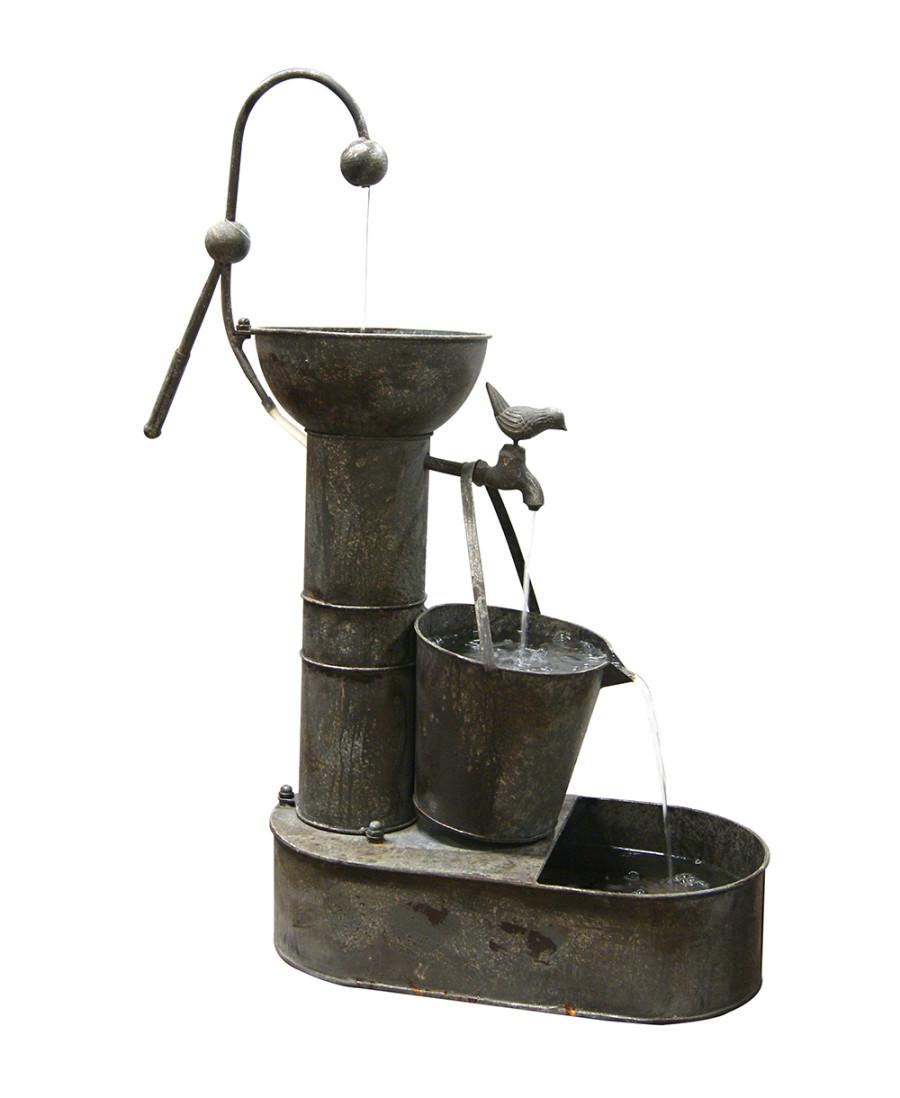 Alpine Rustic Metal Tiering Water Pump Fountain Multi-Color 1ea/20Inx10Inx34 in