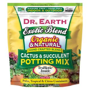 Dr. Earth Exotic Blend Cactus & Succulent Blend Premium Soil 12ea/4 qt