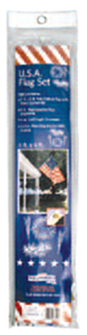 Flag Zone Poly Cotton United States Flag with 3 Piece Metal Pole 12ea/Flag: 3Ftx5Ft Pole: 6 ft