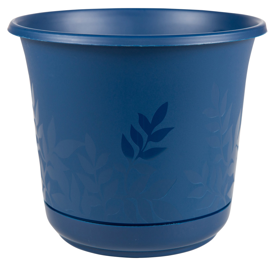 Bloem Freesia Etched Leaves Planter Classic Blue 6ea/8 in