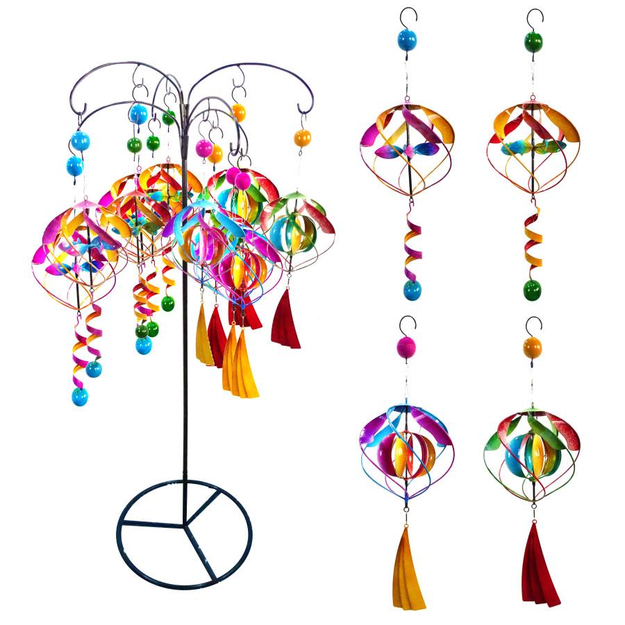 Alpine Glamorous Hanging Metal Spinners Display 12ea