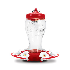 Pennington Hummingbird Feeder With Perch Glass Red 2ea/28 oz