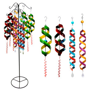 Alpine Wind Spinner Metal Hanging Decor Assorted 12 Pieces with Display Swirl 1ea