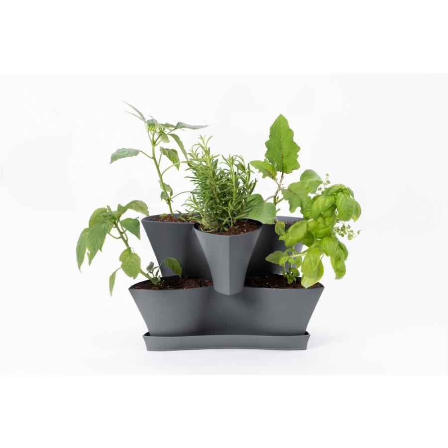 Bloem Collins 2 Level Planter Charcoal 4ea/16 in