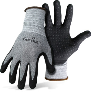 Boss Tactile™ Dotted & Dipped Nitrile Palm & Fingers Glove Grey/Black 12ea/Large