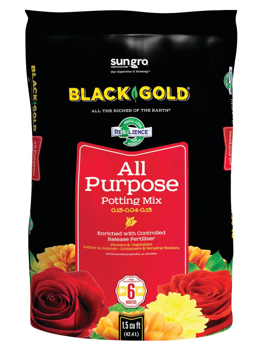 Black Gold All Purpose Potting Soil 5ea/0.13-0.04-0.13, 1.5Cuft