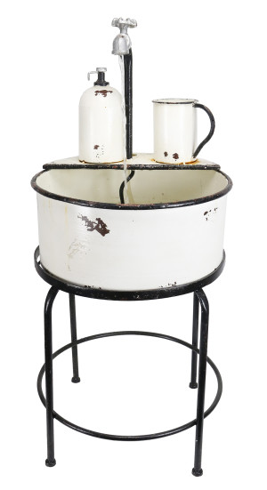 Alpine Vintage Sink Fountain & Stand Vintage White 1ea/17 In. X 17 In. X 34 in