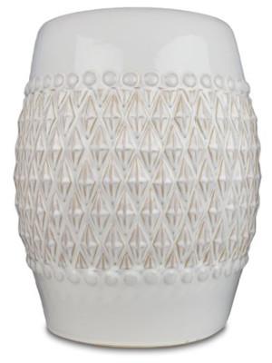 New England Pottery Geometric Stool Ivory 1ea/17.5 in