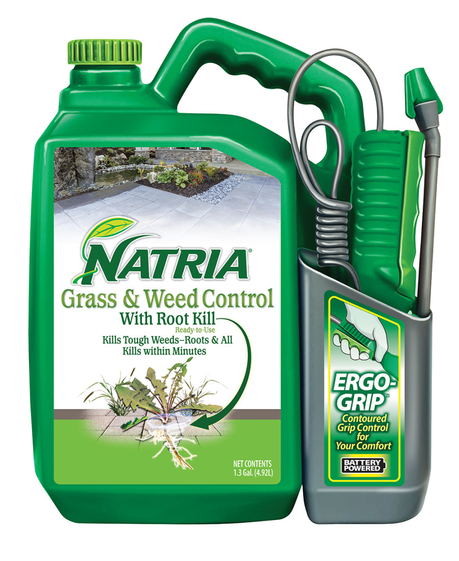 BioAdvanced Natria Grass & Weed Control w/Root Kill Ready to Use Battery Powered Sprayer Green Bottle Ergo Grip 4ea/1.3 gal