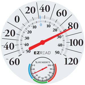 E-Z Read Dial Thermometer Hygrometer White 6ea/12.5 in