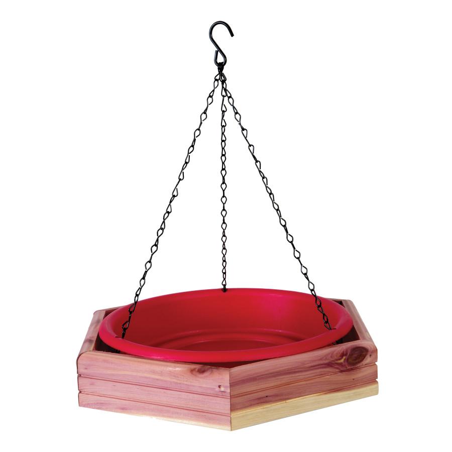 Pennington Cedar Hanging 2-in-1 Bird Bath & Feeder Red, Brown 6ea/12.75 in X 2.25 in X 11 in